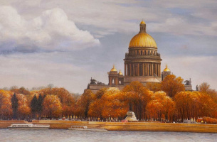"Saveliy Kamsky. Landscape of Saint-Petersburg oil ""Autumn view of St. Isaac's Cathedral from the Neva river"""""