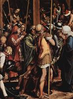 Ганс Гольбейн Младший. Алтарь Страстей Христовых, правая створка внутренняя сторона, сцена внизу: Распятие, деталь