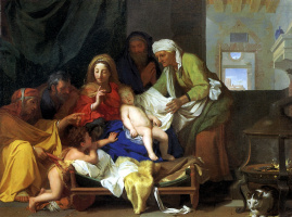 Holy family with the sleeping infant Jesus