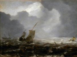 Ян Порселлис. Рыболовные суда в ветреный день