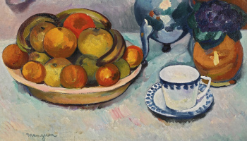 Henri Manguin. Still life with fruit, Cup and violets. Fragment