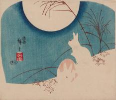 Утагава Хиросигэ. Кролики в степной траве в лунную ночь