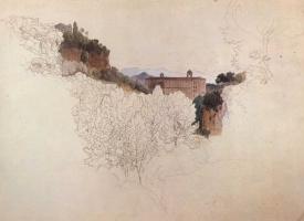 Генрих Дребер. Итальянский пейзаж с монастырем