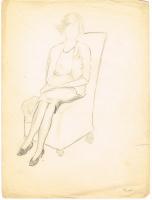 Неизвестный  художник. Женская фигура в кресле