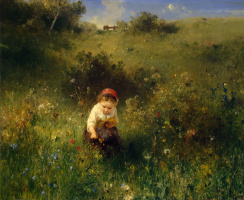 Ludwig Knaus. The girl in the field