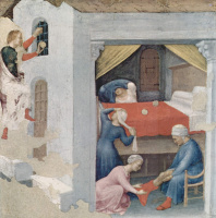 Джентиле да Фабриано. Приданое для бедных девиц (Святой Николай бросает золотые шары в темницу бедным девушкам)