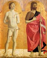 Пьеро делла Франческа. Полиптих Милосердия. Святой Себастьян и Иоанн Креститель