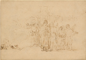 Rembrandt Harmenszoon van Rijn. Lot and His Family Leaving Sodom
