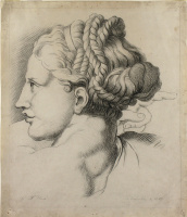 """George Frederick Watts. Drawing a female head from the """"Transfiguration"""" by Raphael"""