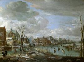 Арт ван дер Нер. Замерзшая река недалеко от деревни, среди игроков в гольф и конькобежцев