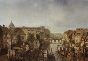 Альберт Швенди. Вид с Королевских мельниц на Мюлендамме на Долгий мост в Берлине