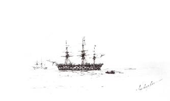 Ivan Aivazovsky. Three-masted ship