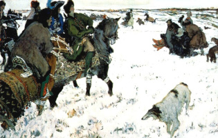 Valentin Aleksandrovich Serov. Tsar Peter I is present on hunting with hounds, hosted by the boyars