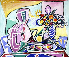 Pablo Picasso. Mandolin and vase of flowers