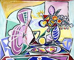 Пабло Пикассо. Мандолина и ваза с цветами