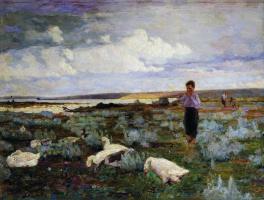 Кириак Константинович Костанди. Пастушок. Мальчик с гусями. 1918