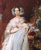 Франц Ксавер Винтерхальтер. Элен Луиза Элизабет де Мекленбург Шверин, герцогиня Орлеанская и ее сын, граф Парижа. Фрагмент