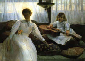 Джулиан Олден Уир. Девушка и ребенок с гитарой