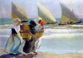 Joaquin Sorolla. Three sails