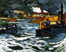Maurice de Vlaminck. Barges on the Seine