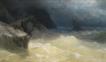 Ivan Aivazovsky. Shipwrecked off the coast of the Black sea