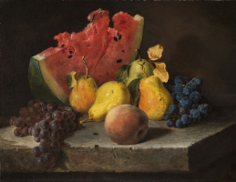 Lilly Martin Spencer. Still life with watermelon, pears and grapes