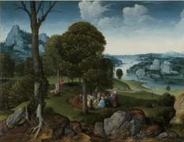 Иоахим Патинир. Пейзаж с проповедью святого Иоанна Крестителя