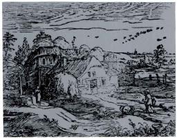 Хендрик Гольциус. Пейзаж с крестьянской хижиной