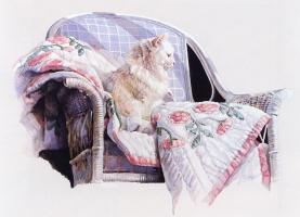 Nancy Noel. Cat on a blanket
