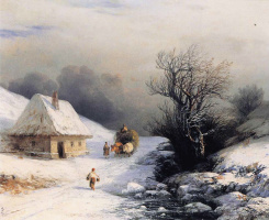 Ivan Aivazovsky. Ukrainian oxcart in winter