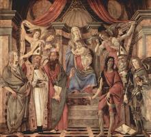 Сандро Боттичелли. Алтарь, центральная часть: Мадонна на троне, четыре ангела и святые, слева: Екатерина Александрийская, Августин, Варнава, Иоанн
