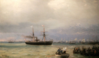 """Ivan Aivazovsky. Ship help (the Arrival of the steamer """"Missouri"""" bread in Russia)"""
