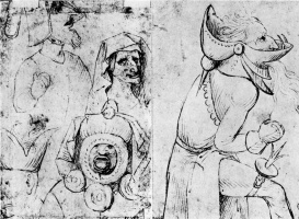 Иероним Босх. Гротескные лица (две стороны листа)