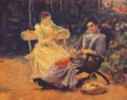 Леонид Осипович Пастернак. Две женщины в саду под Одессой
