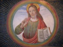 Джованни Санти. Христос. Фреска Капеллы тиранов в церкви Св. Доменика