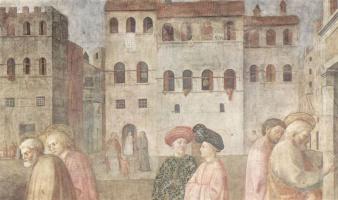 Томмазо Мазолино. Цикл фресок капеллы Бранкаччи в церкви Санта Мария дель Кармине во Флоренции, сцены из Жизни Петра, сцена: Исцеление хромого.