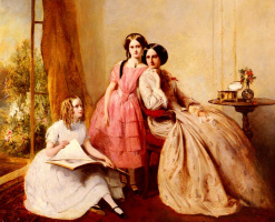 Авраам Соломон. Портрет двух девочек с их гувернантками