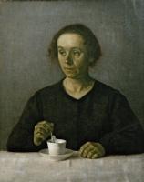 Вильгельм Хаммерсхёй. Портрет Иды Хаммерсхёй с чашкой чая