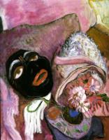 Габриель Мюнтер. Черная маска на розовом фоне