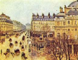 Камиль Писсарро. Оперный проезд, Париж под дождем