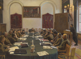 Исаак Израилевич Бродский. The meeting of the Revolutionary Military Council of the USSR, chaired by K.E. Voroshilov
