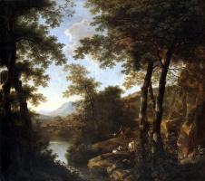 Ян Бот. Итальянский пейзаж с римскими воинами