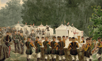 Mikhail Alexandrovich Zichy. Military camp in the forest. State Hermitage, St. Petersburg. Drawing entered in 1927 Transferred from the library of Alexander II in the Winter Palace.