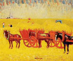 Кес Ван Донген. Телеги с сеном в поле