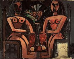 Пабло Пикассо. Две сидящие женщины