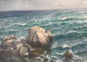 Яков Александрович Басов. Море с камнем и чайками