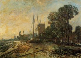 Ian Bartold Jongkind. Windmill near the water