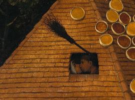 Питер Брейгель Старший. Фламандские пословицы. Фрагмент: Жениться под метлой - сожительство без брака