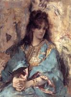 Альфред Эмиль-Леопольд Стевенс. Женщина, сидящая в восточном платье