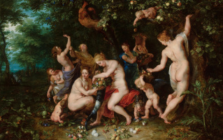 Jan Bruegel The Elder. Nymphs fill the cornucopia. (in collaboration with P. P. Rubens) Around 1615